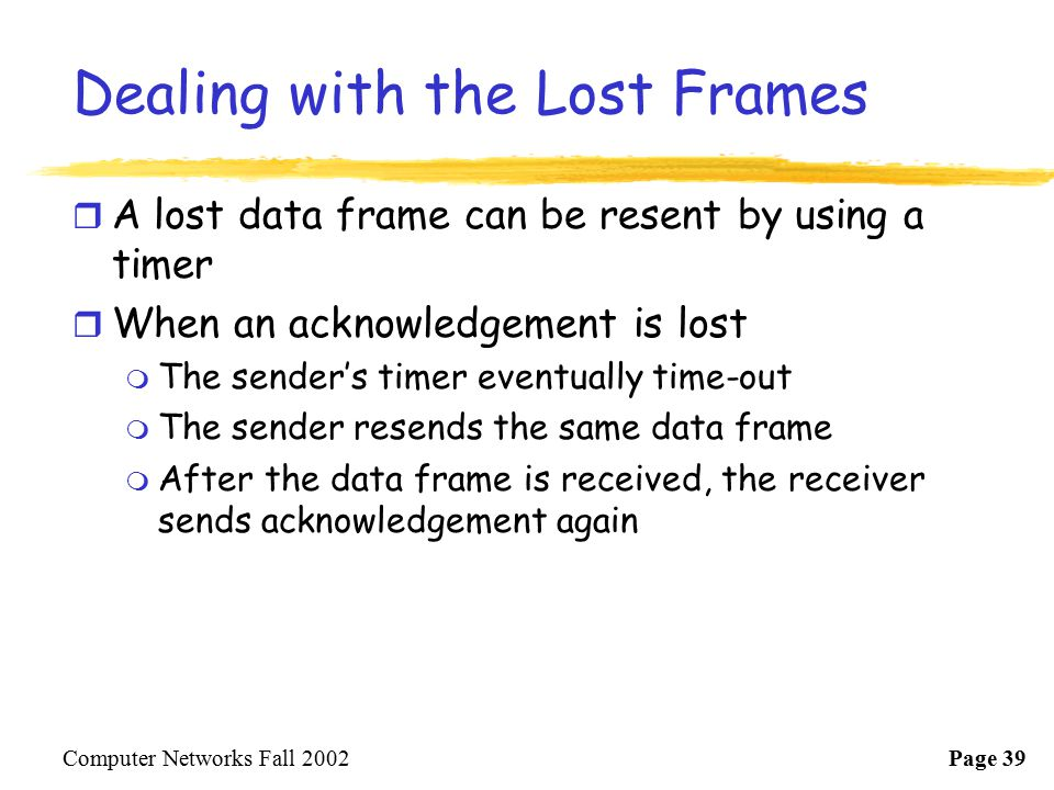 Dealing with the Lost Frames