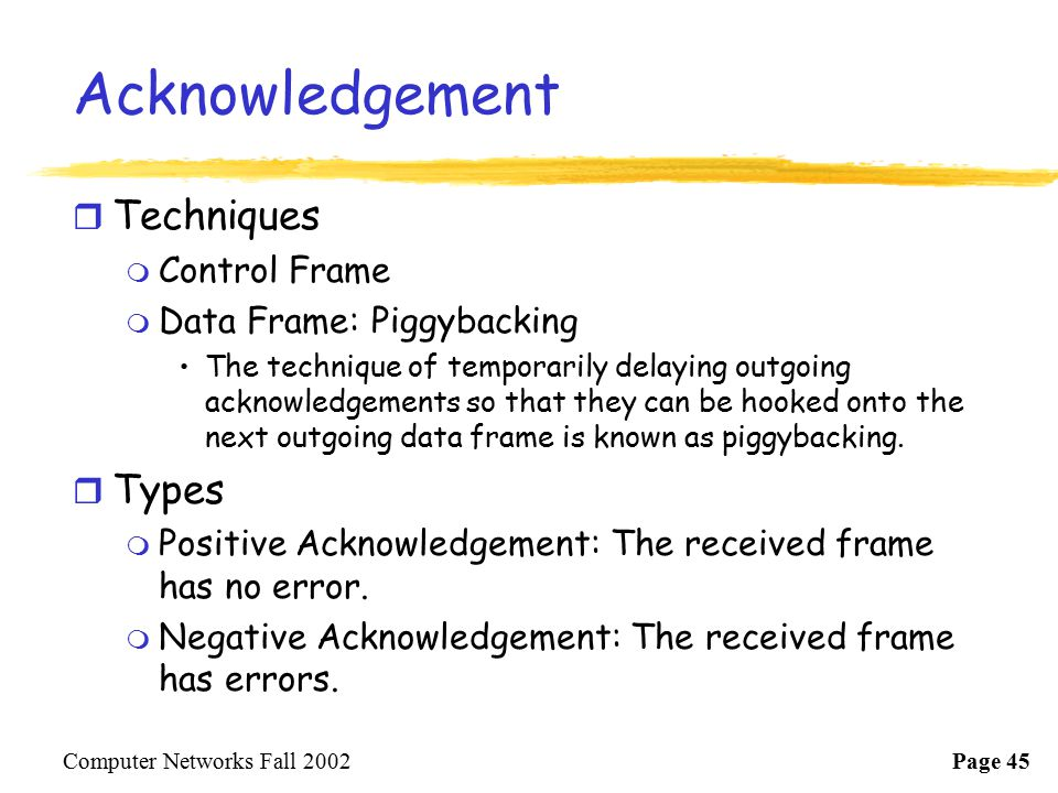 Acknowledgement Techniques Types Control Frame