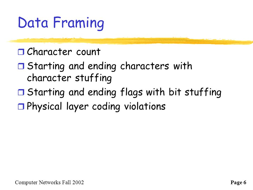 Data Framing Character count