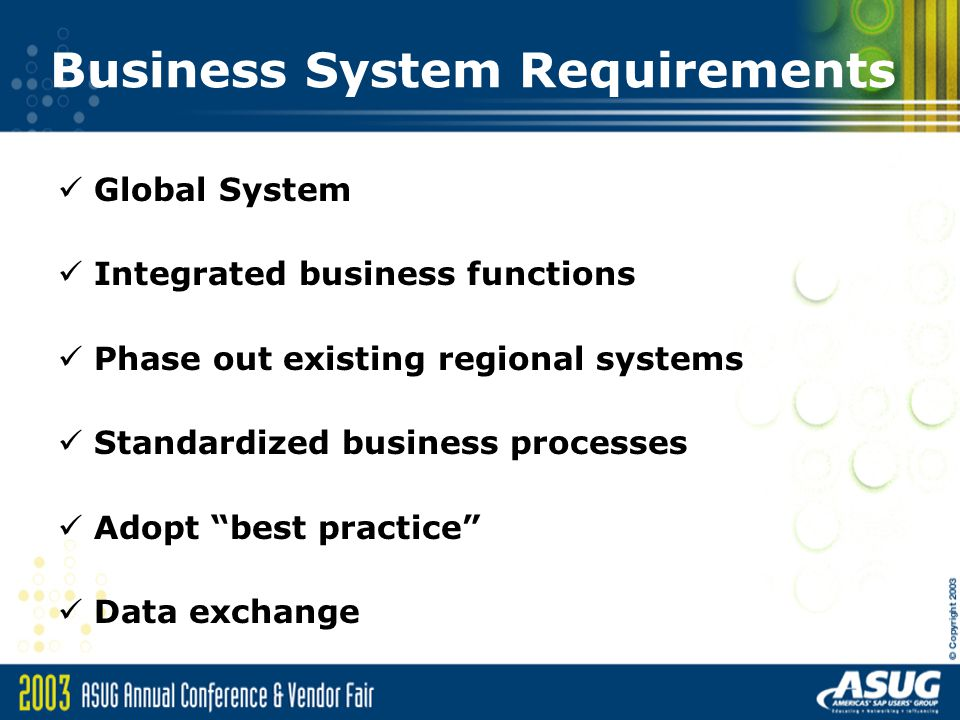 Business System Requirements