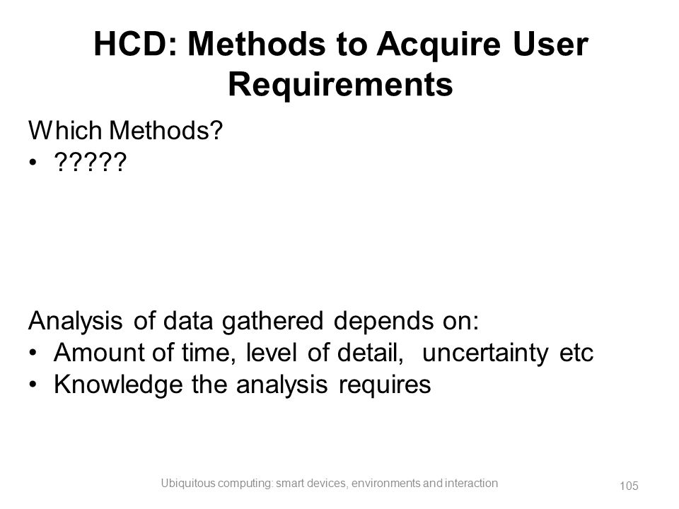 HCD: Methods to Acquire User Requirements