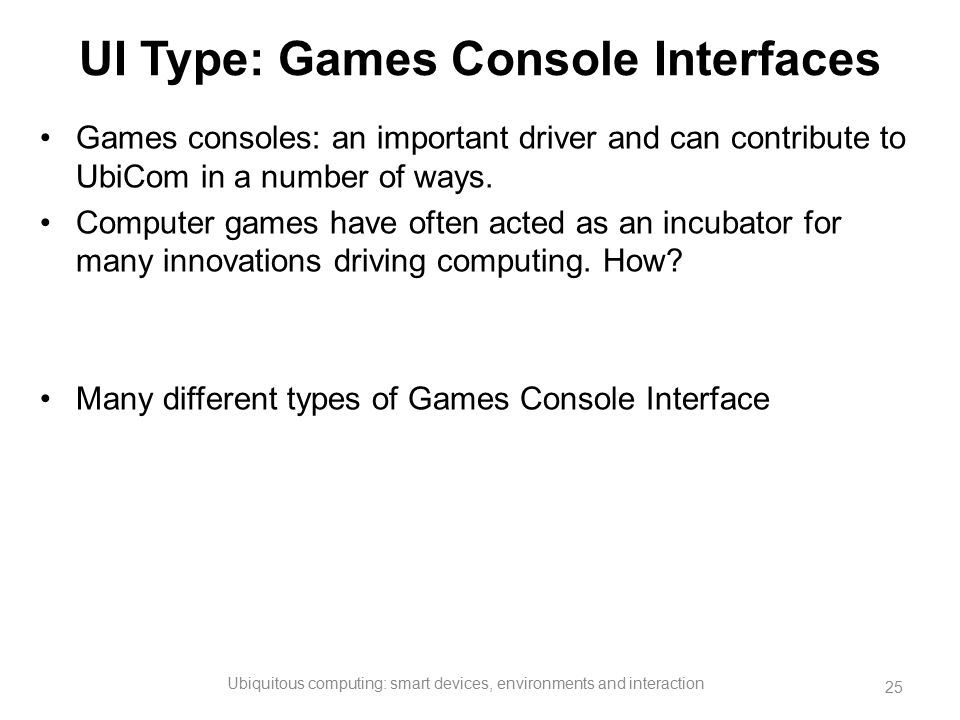 UI Type: Games Console Interfaces