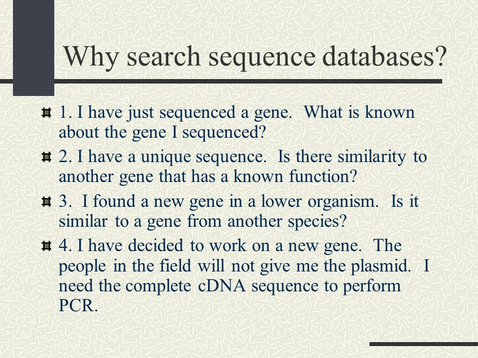 Why search sequence databases