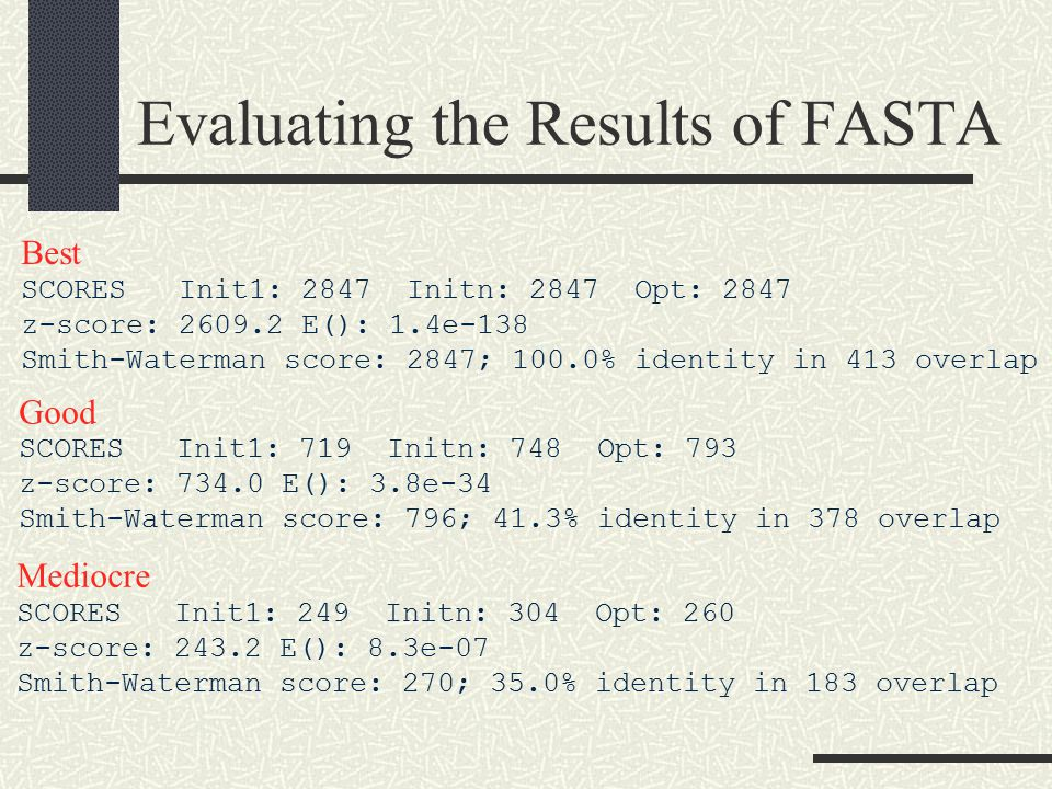 Evaluating the Results of FASTA