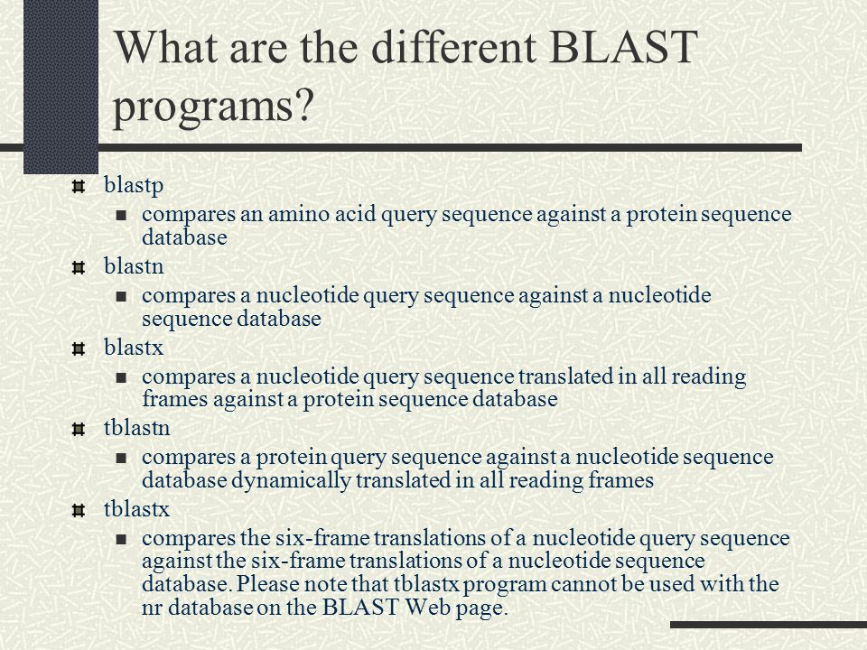 What are the different BLAST programs
