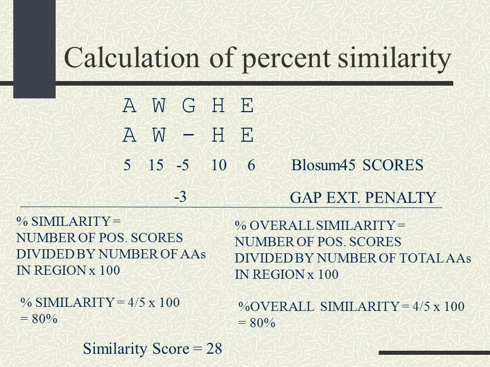 Calculation of percent similarity