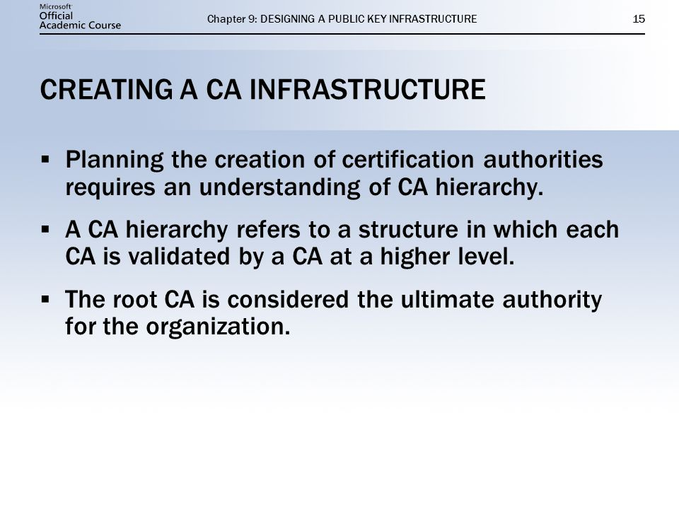 CREATING A CA INFRASTRUCTURE