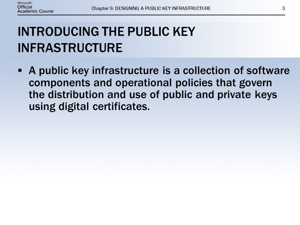 INTRODUCING THE PUBLIC KEY INFRASTRUCTURE