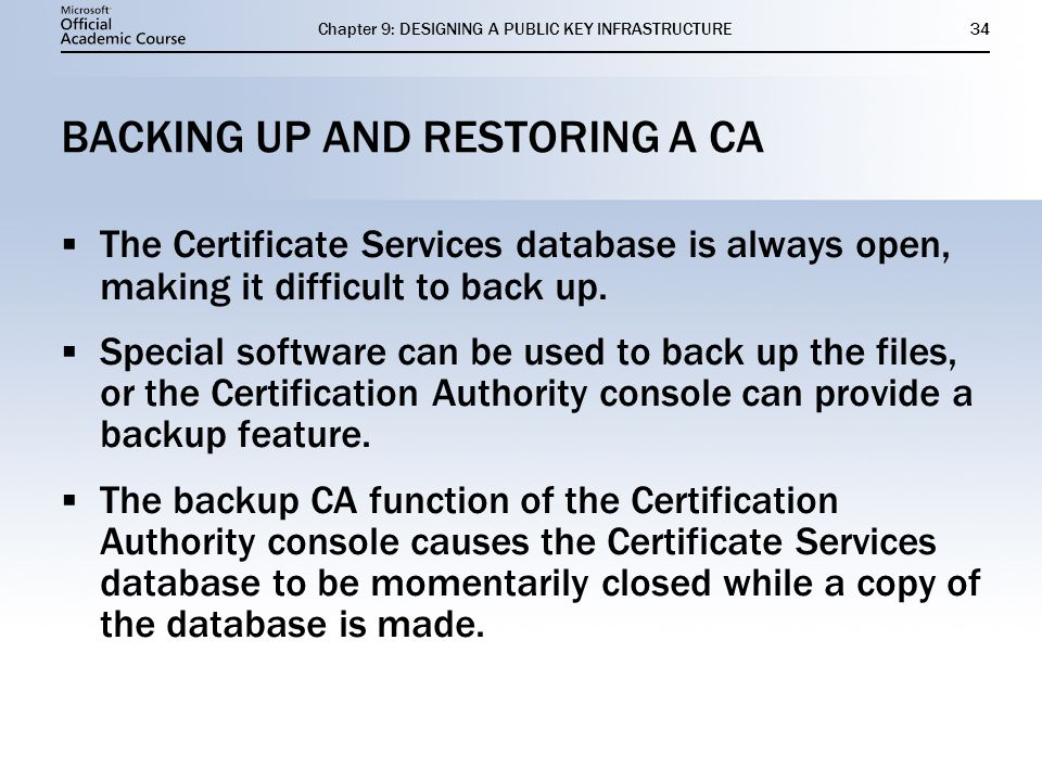 BACKING UP AND RESTORING A CA
