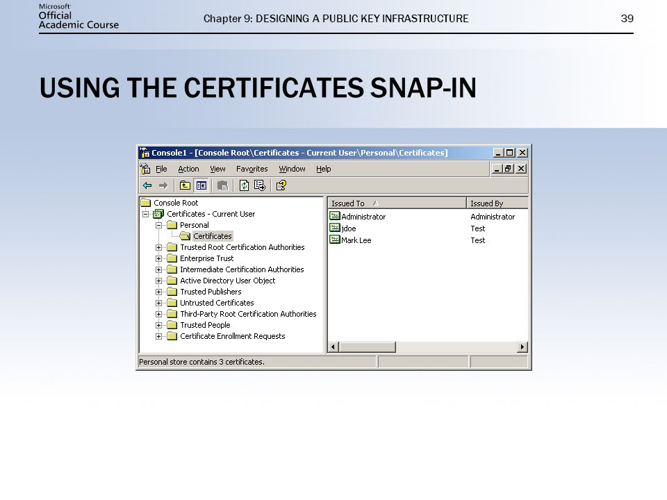 USING THE CERTIFICATES SNAP-IN