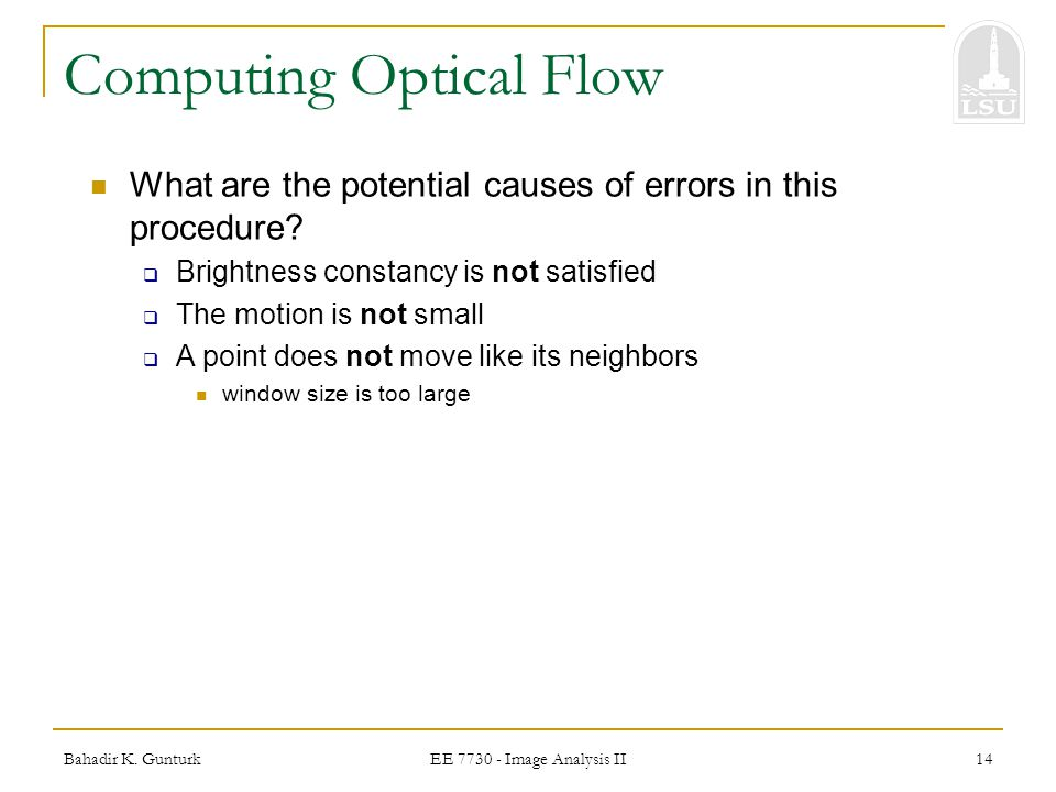 Computing Optical Flow