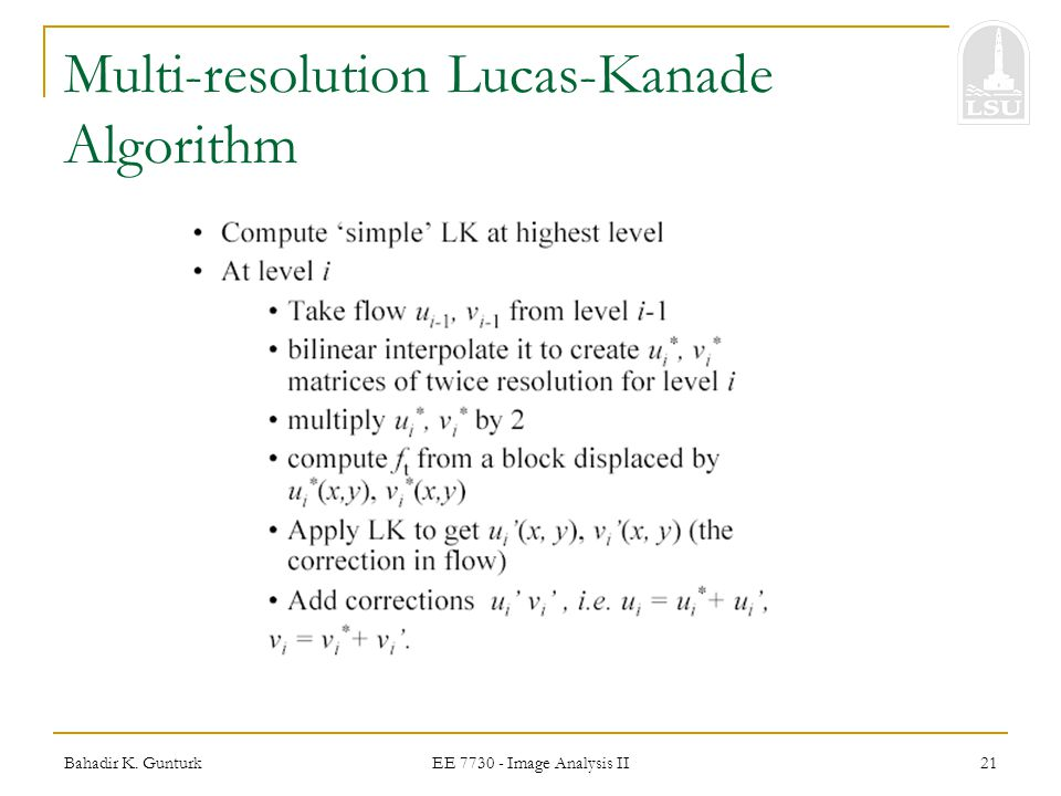 Multi-resolution Lucas-Kanade Algorithm