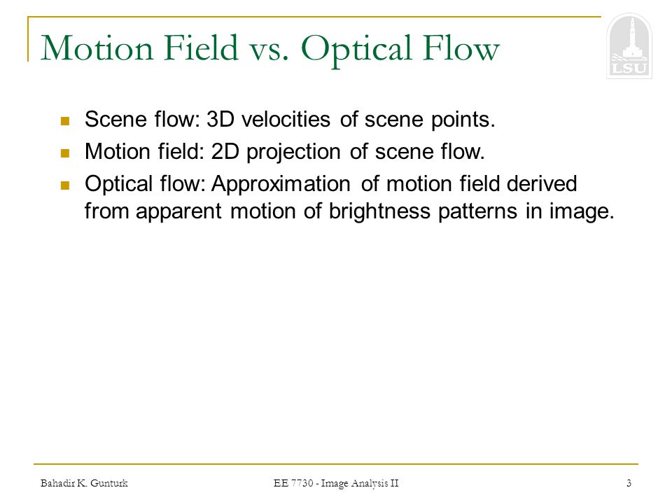 Motion Field vs. Optical Flow