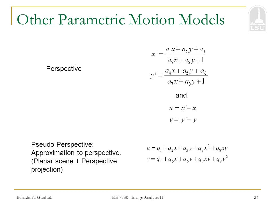 Other Parametric Motion Models