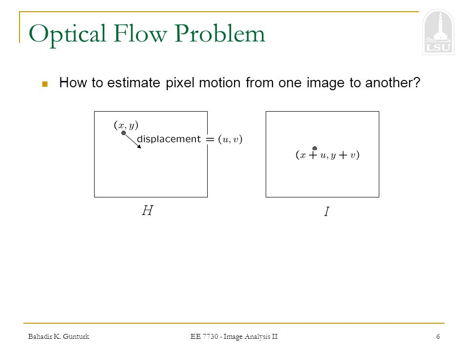 Optical Flow Problem How to estimate pixel motion from one image to another.