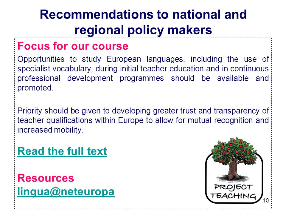 Recommendations to national and regional policy makers