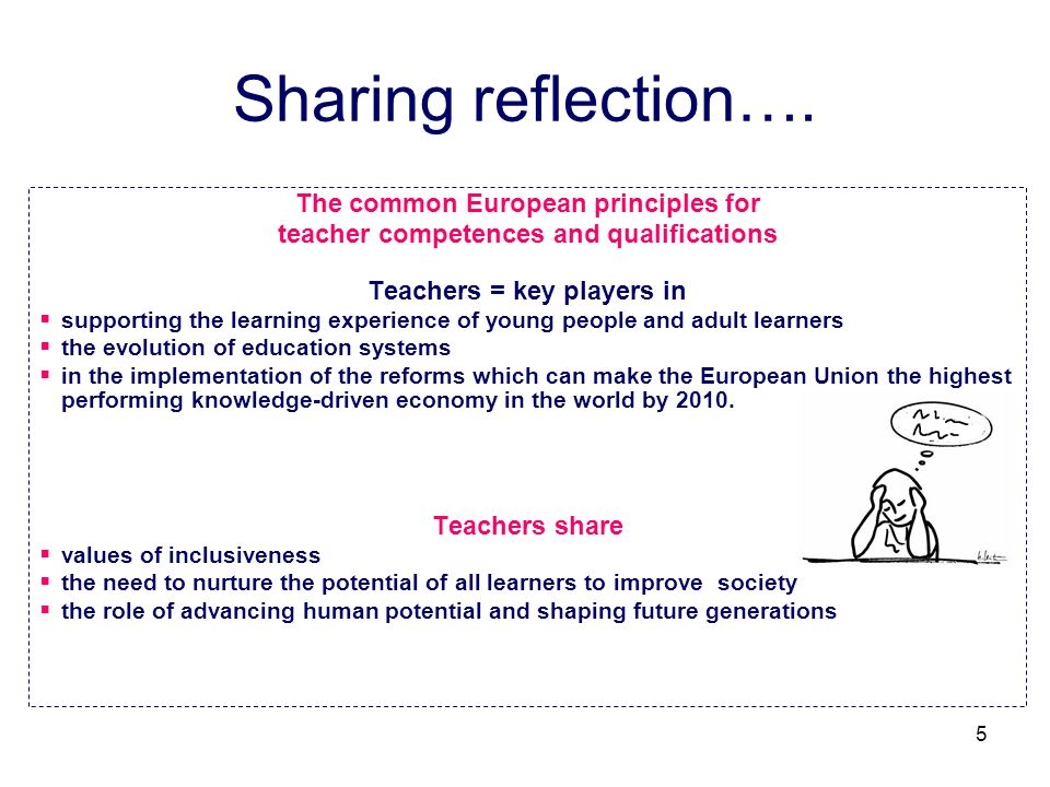 Sharing reflection…. The common European principles for