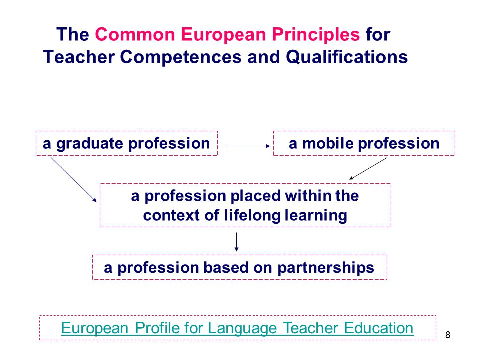 The Common European Principles for Teacher Competences and Qualifications
