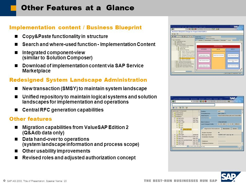 Sap solution manager implementation of mysap business suite ppt 23 other features at a glance implementation content business blueprint malvernweather Choice Image