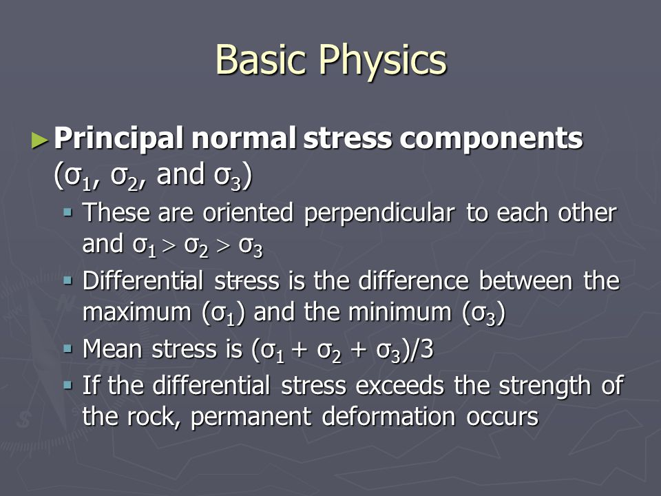 Basic Physics Principal normal stress components (σ1, σ2, and σ3)