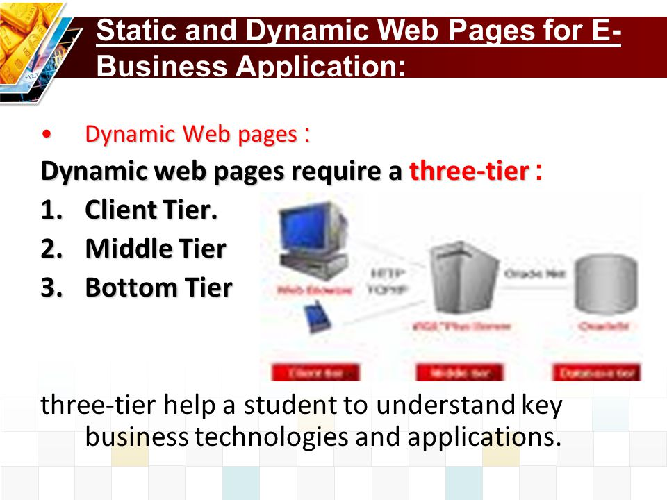 Static and Dynamic Web Pages for E-Business Application: