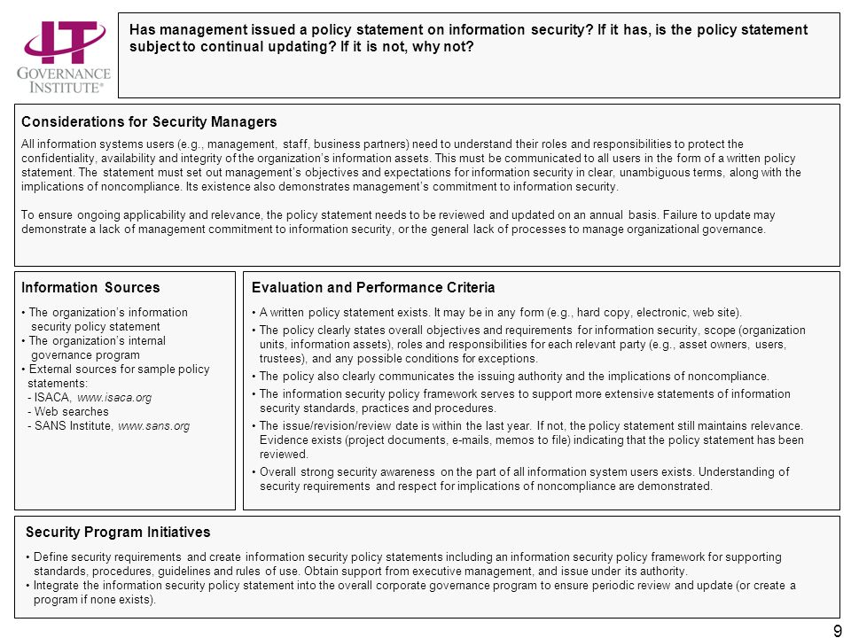Information Security Governance—Top Actions for Security Managers