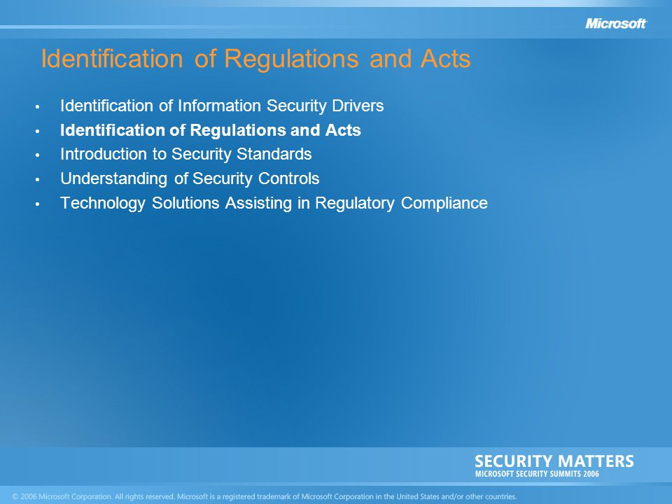 Identification of Regulations and Acts