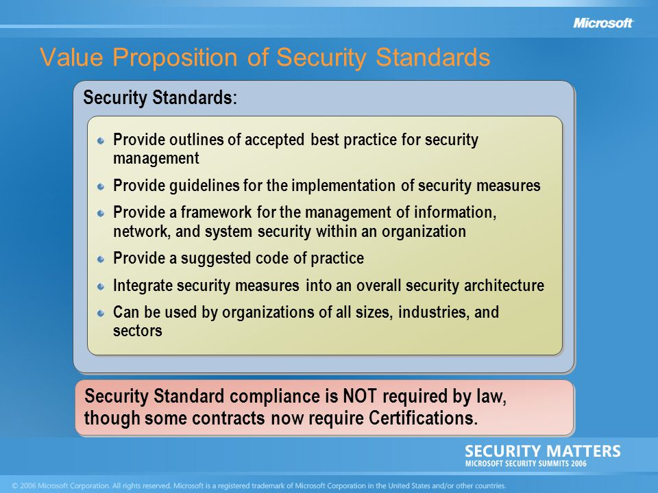 Value Proposition of Security Standards