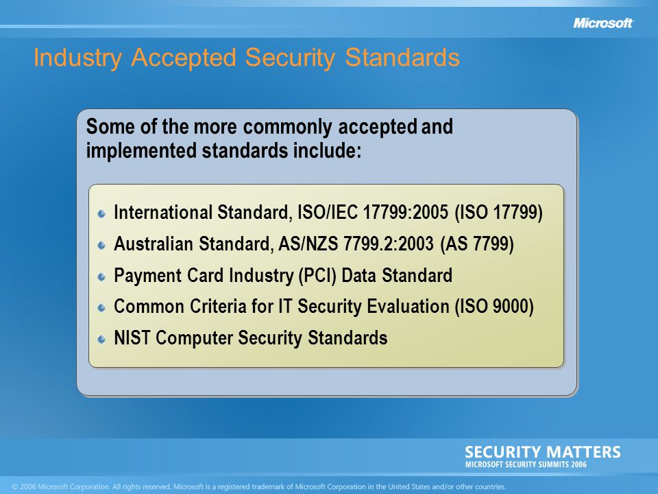 Industry Accepted Security Standards