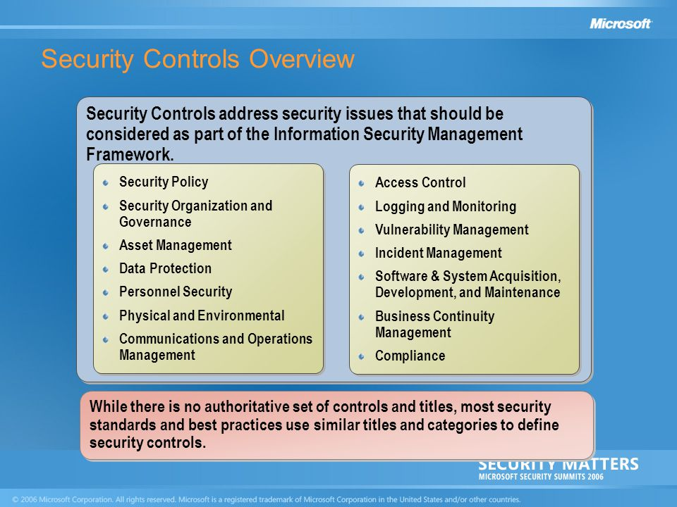 Security Controls Overview