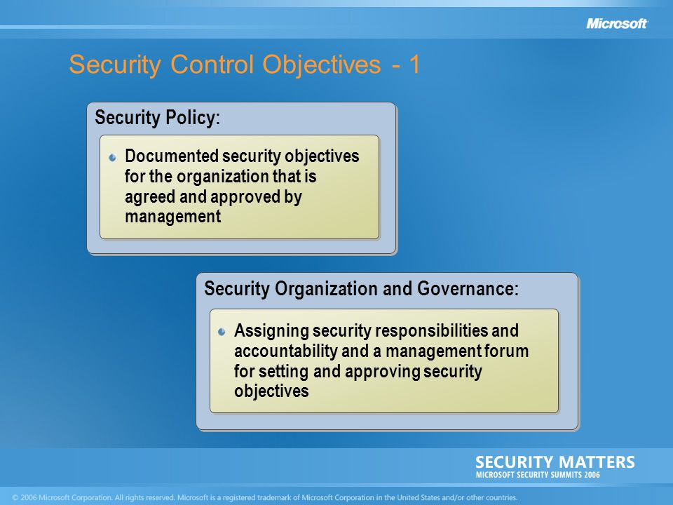 Security Control Objectives - 1