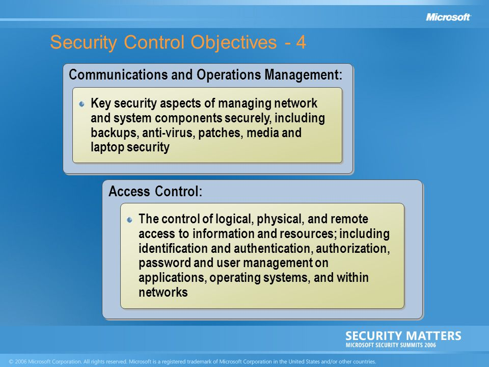 Security Control Objectives - 4