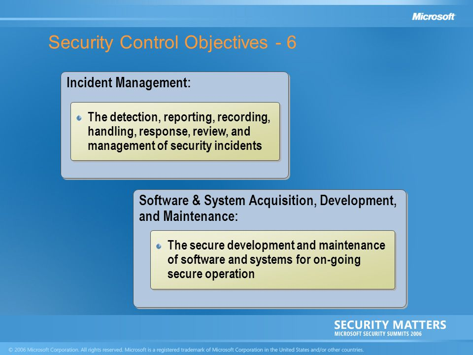 Security Control Objectives - 6