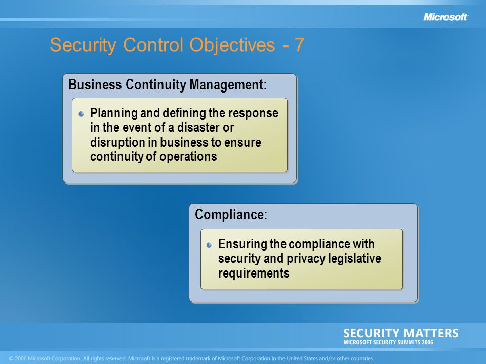 Security Control Objectives - 7