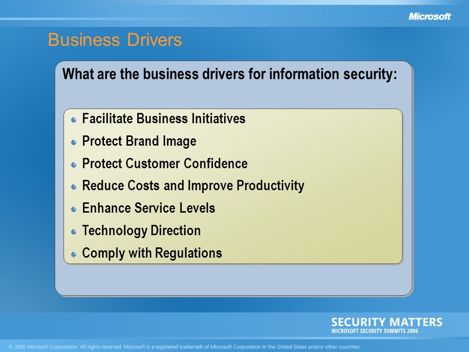 Business Drivers What are the business drivers for information security: Facilitate Business Initiatives.