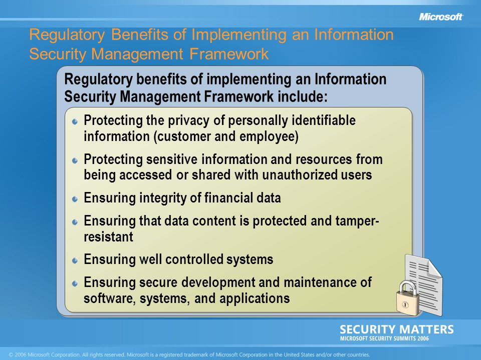 Regulatory Benefits of Implementing an Information Security Management Framework