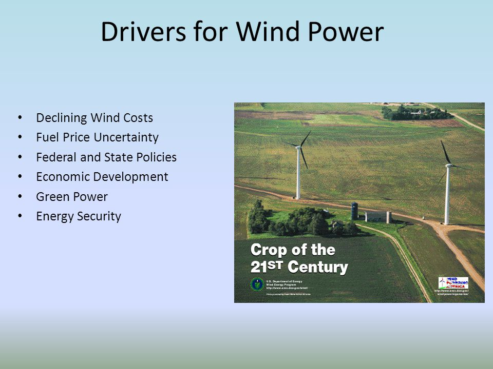 Drivers for Wind Power Declining Wind Costs Fuel Price Uncertainty