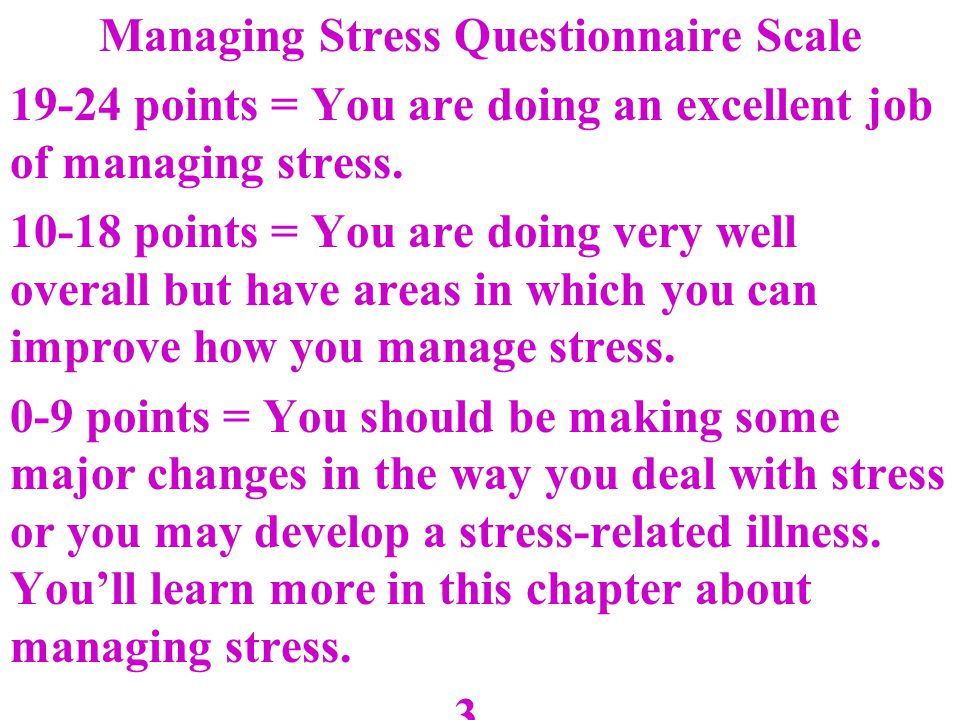 Managing Stress Questionnaire Scale