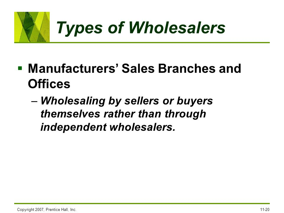 Types of Wholesalers Manufacturers' Sales Branches and Offices
