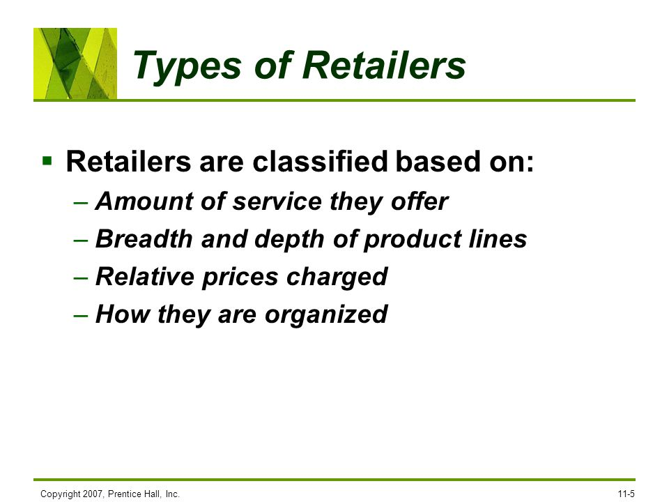 Types of Retailers Retailers are classified based on: