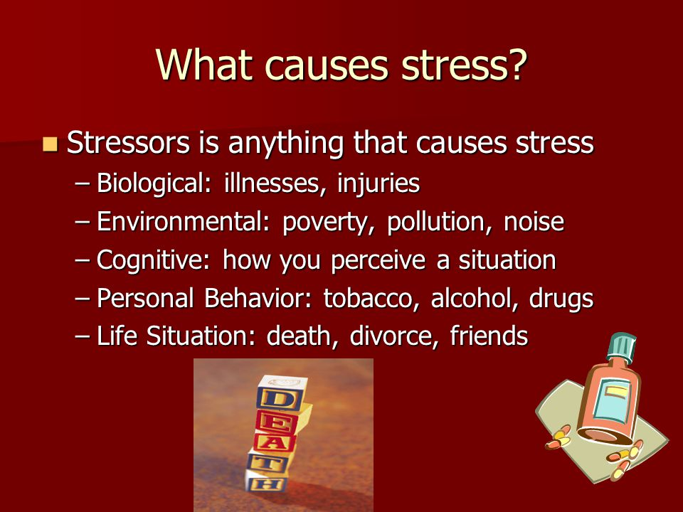 What causes stress Stressors is anything that causes stress