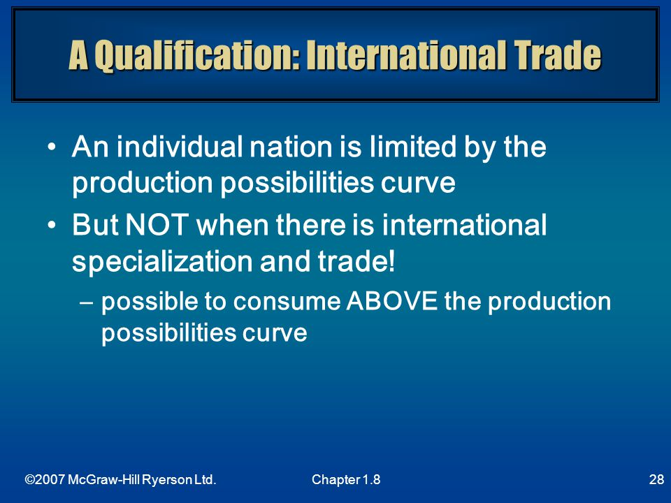 A Qualification: International Trade