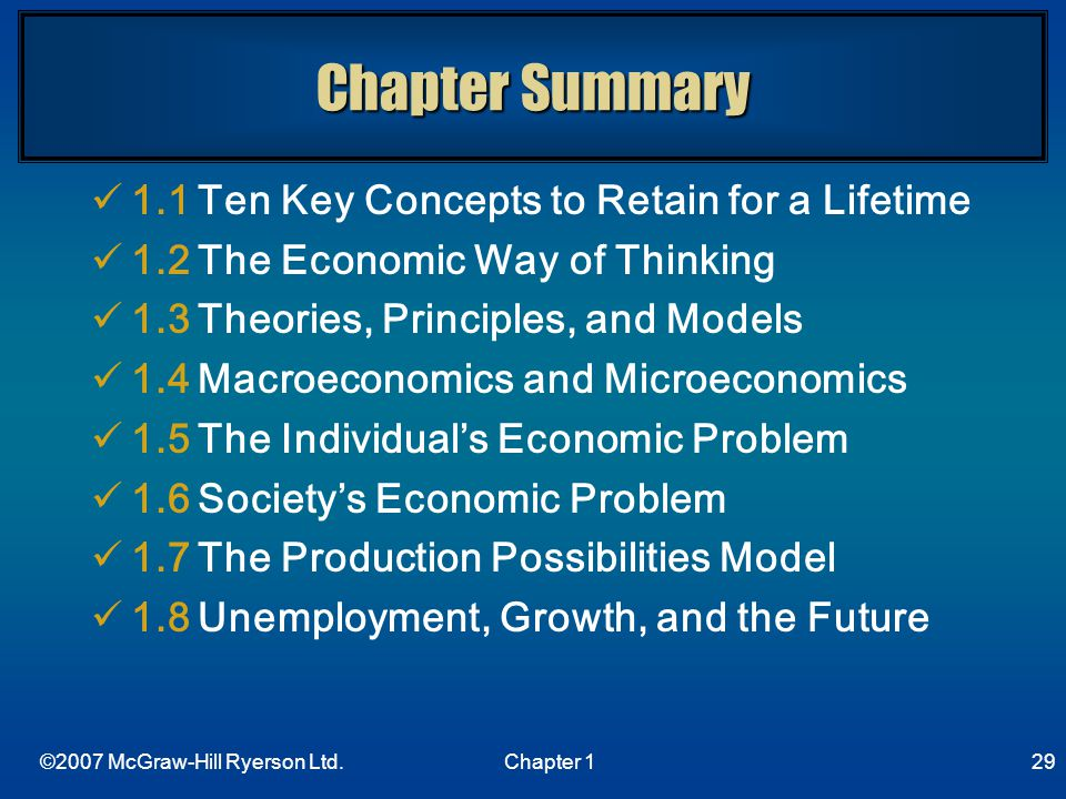 Chapter Summary 1.1 Ten Key Concepts to Retain for a Lifetime