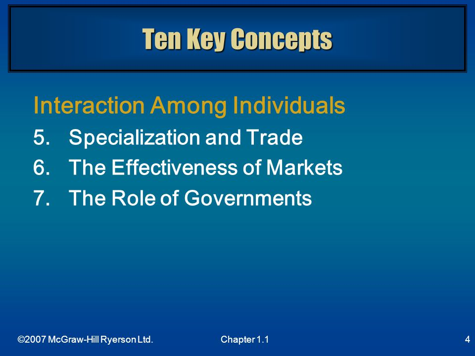 Ten Key Concepts Interaction Among Individuals
