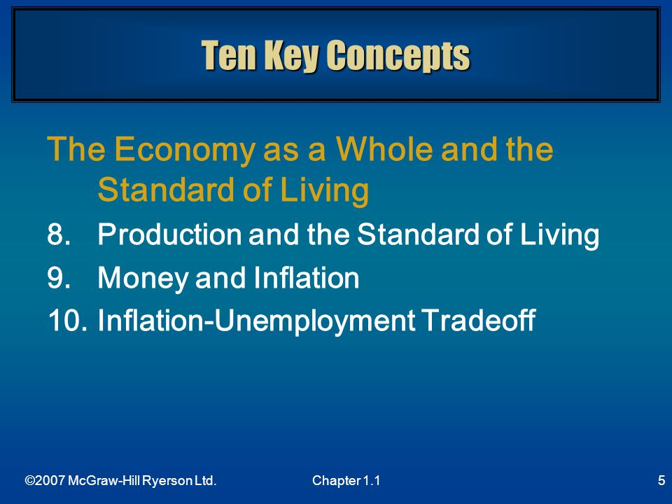 Ten Key Concepts The Economy as a Whole and the Standard of Living