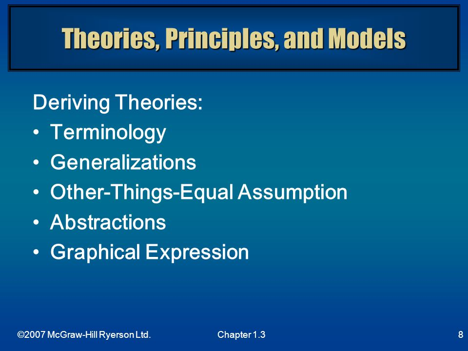Theories, Principles, and Models