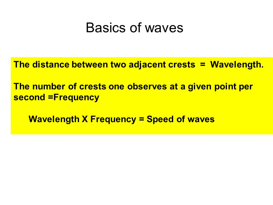 Basics of waves The distance between two adjacent crests = Wavelength.