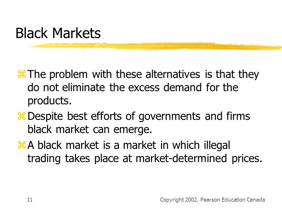 Black Markets The problem with these alternatives is that they do not eliminate the excess demand for the products.