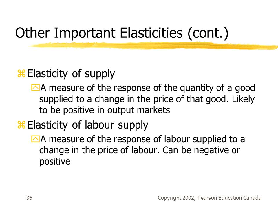 Other Important Elasticities (cont.)