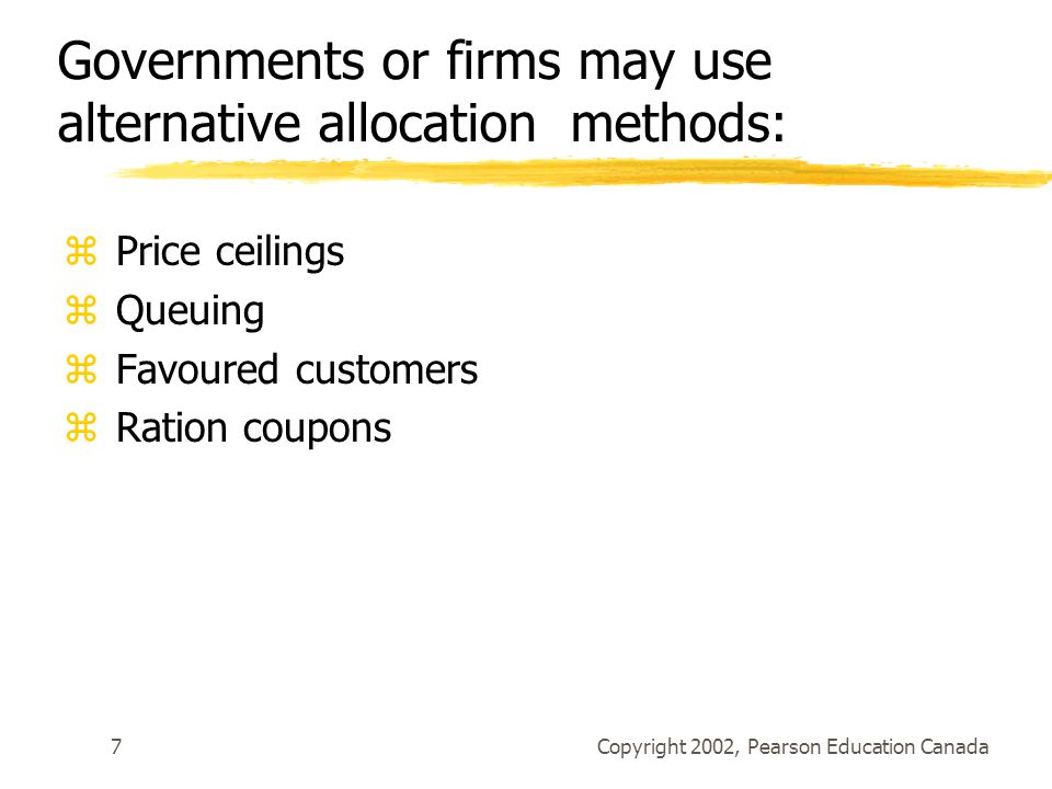 Governments or firms may use alternative allocation methods: